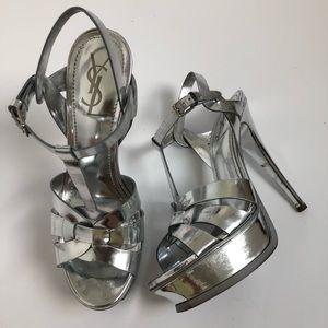 Ysl Silver metallic tribute 38.5 used condition
